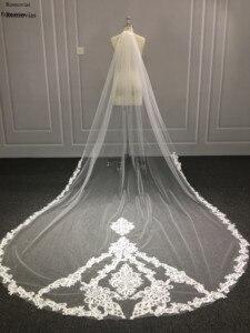 Image 5 - 2020 longs voiles de mariée en dentelle avec peigne 3 M voiles de mariage Appliques cathédrale 3 mètres de longueur voiles de mariage accessoires de mariée