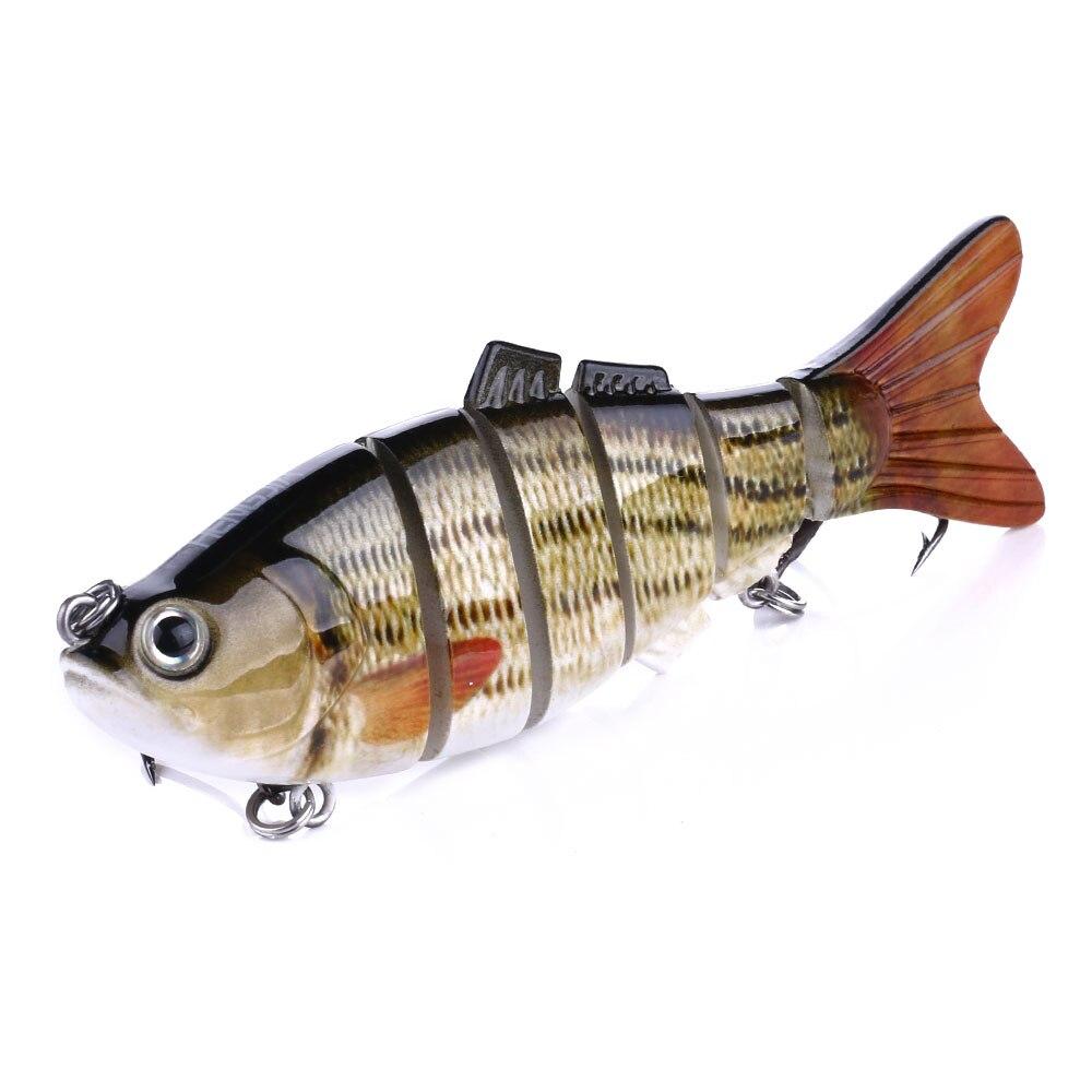 Hengjia 6 Section Fishing Lure Crank Bait Swimbait Bass Shad Dacing 3D Eyes Fishing Tools 10CM-18G
