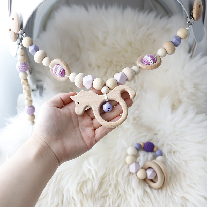 Baby Toys Silicone Beads Teethers Wooden Rings Handmade Bracelet Mobile Baby Pacifier Chain Clips Teething Pram Bed  Bell Toys