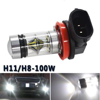 1 Pcs Car Auto Fog Lights H8 H11 100W 2323 6000k LED Bulb DRL Daytime Running Beam Kit Conversion Globes Auto Day Running Light image