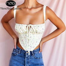 NewAsia Floral Corset Women Sweet Print Hollow Up Tie Up Sexy Crop Top Summer Sleeveless Ruched Boning Bustier Casual Tank Top