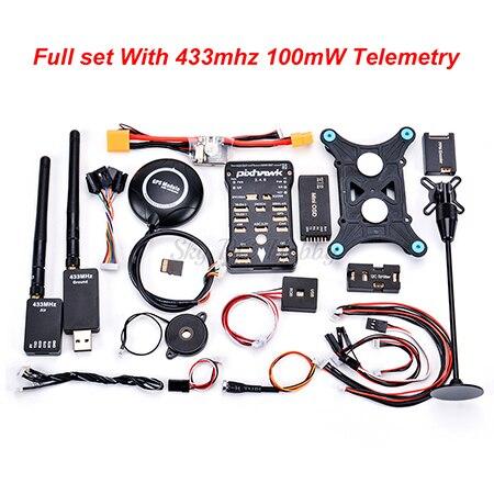 Pixhawk PX4 PIX 2.4.8 32 бит Контроллер полета M8N gps Minim OSD PM переключатель безопасности зуммер PPM IEC RGB 4G SD 433/915 Телеметрия - Цвет: 433 100mW Telemetry