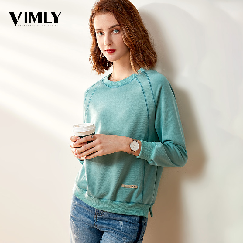Vimly Harajuku Solid Sweatshirt Women Long Sleeve Casual Hoodie Sweatshirt Female Solid O Neck Streetwear Pullovers Tracksuit