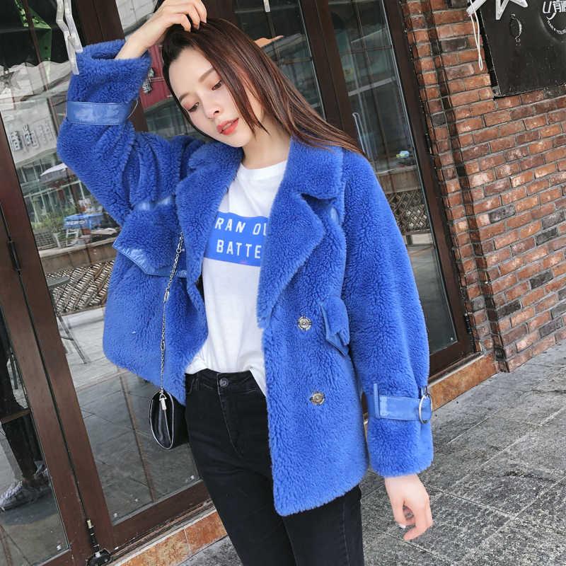 Echt Pelzmantel Winter Mantel Frauen Kleidung 2020 Real Nerz Kragen Koreanische Vintage Schafe Lammfell 100% Wolle Jacke 1906 YY1667