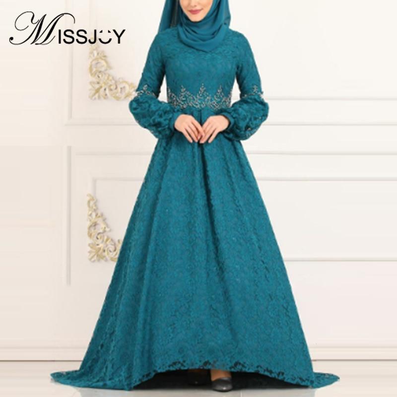 MISSJOY Arabic Abaya Women Party Dresses Ladies Muslim Lace Turkish Dubai Kaftan Long Irregular Kimono Islamic Clothing Плать