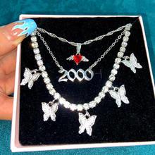 Collier avec pendentif en argent pour femmes, année de naissance, multicouches, cœur, papillon, chaîne en cristal, bijoux cadeau, 2000
