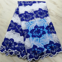 Blue&White, African Lace Fabric High Quality French Cord Lace Fabric Embroidered Nigerian Tulle Lace Fabric With Beads For Dress