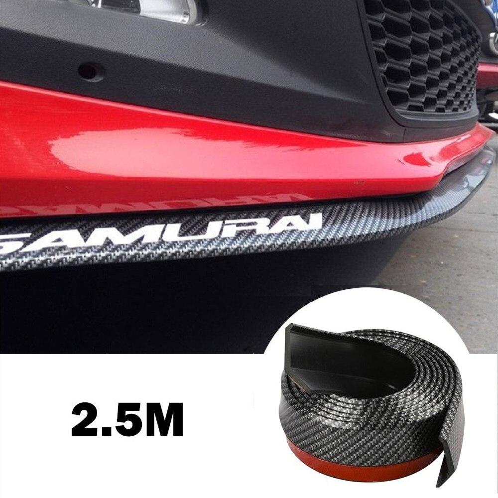 2.5m Car Bumper Lip Strip Protectors Splitter Body Kits Spoiler Bumpers Car Door Bumper Carbon Fiber Rubber Lip 51mm Width Strip