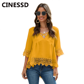 CINESSD 2020 Summer Chiffon Blouses Tops Cross V Neck Half Sleeves Women Casual Lace Hollow Splice Tunic Pullover Solid Blouse white lace details v neck half sleeves beachwear