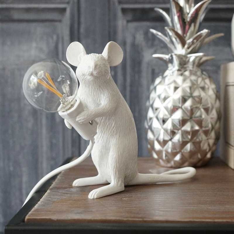 Moderne Hars Dier Rat Muis Tafellamp Kleine Mini Mouse Leuke Led Night Lights Slaapkamer Home Decor Desk Lichten Nachtkastje lamp Kids