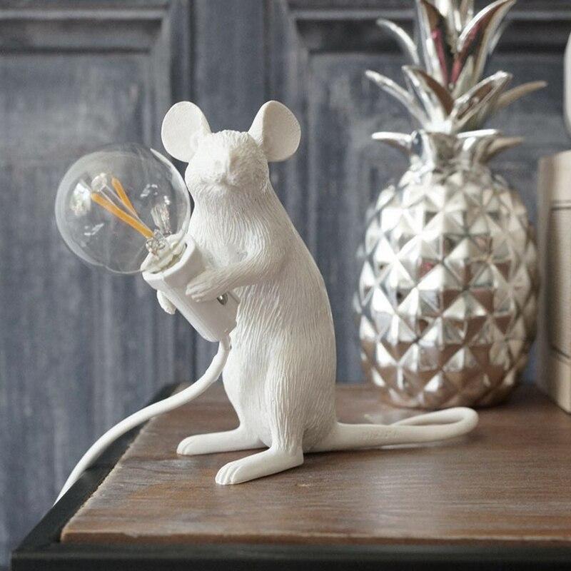 modern Resin Animal Rat Mouse Table Lamp Small Mini Mouse Cute LED Night Lights Bedroom Home Decor Desk Lights Bedside Lamp Kids