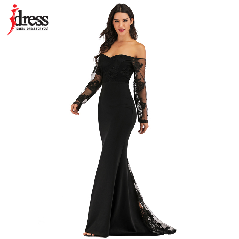 IDress Sexy Slash Neck Off Shoulder Designer Runway Dress Formal Prom Long Dress Women Lace Embroidery Evening Party Dress Long (7)