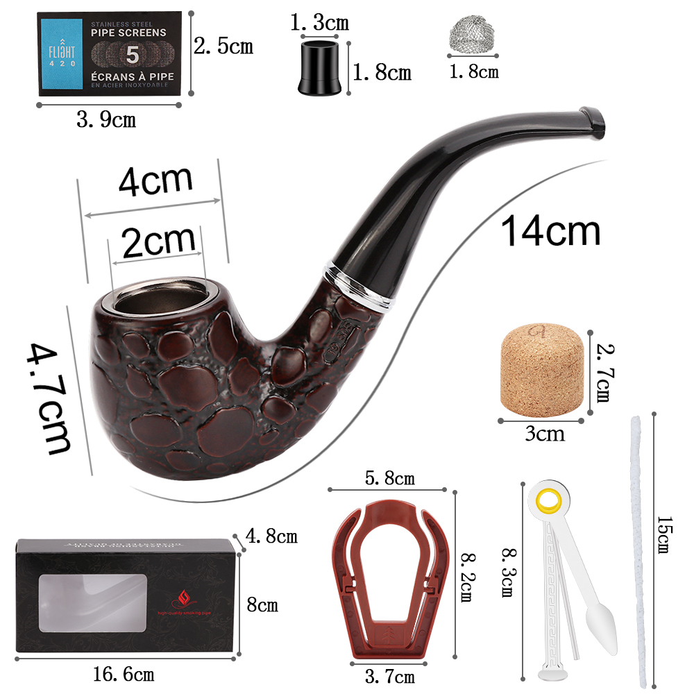 Tobacco Pip Classic Resin Pipes Chimney Filter Smoking Pipe Cigar Gifts Smoke Narguile Grinder Mouthpiece