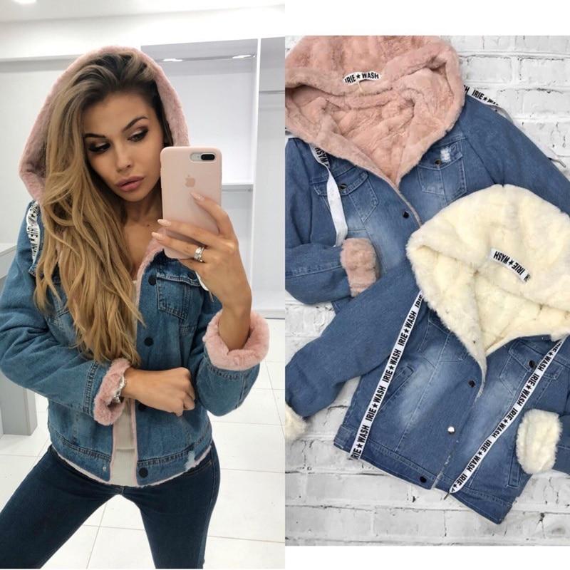 Femmes hiver veste jean épais fausse fourrure col polaire à capuche denim manteau femme blanc rose violet chaud denim plus velours outwea