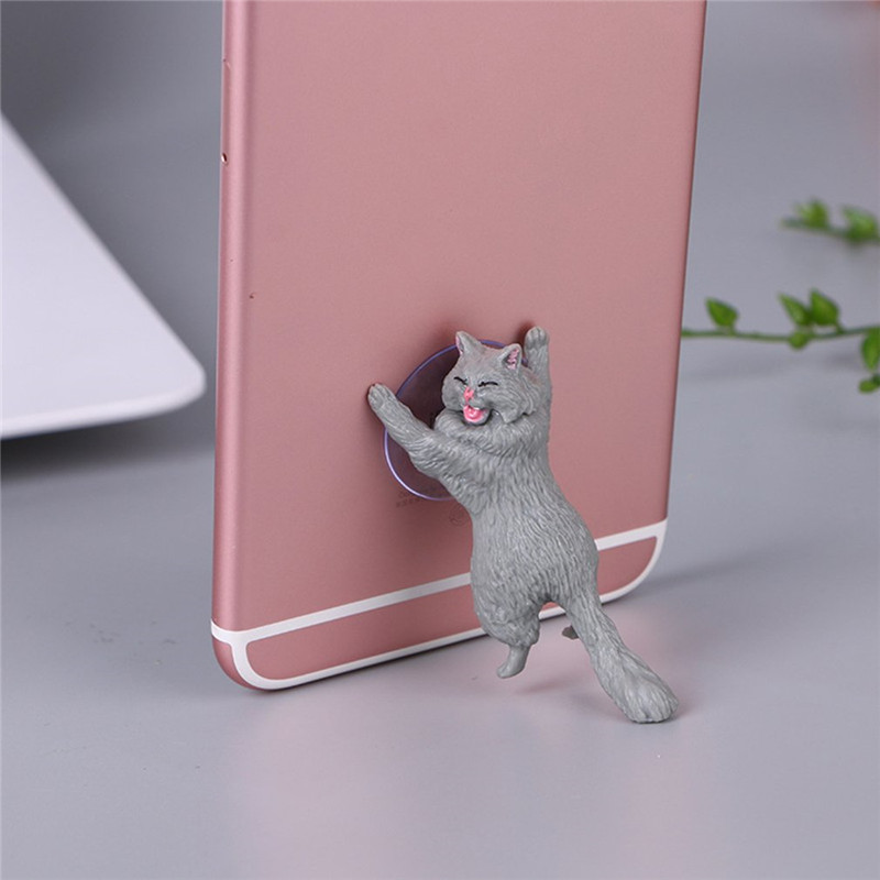 1pc Cat Figurine Miniature Cat Sucker Design Phone Holder mini fairy garden Cartoon statue craft Home Car Decorative
