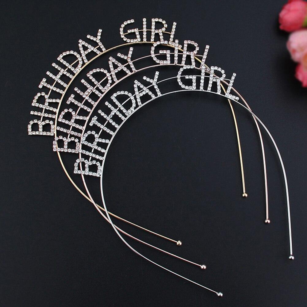 1Pc Metal Rhinestone Inlaid Headband For Girls Hair Hoop Birthday Crown Hat Party Decorations Roczek Anniversaire Princesse