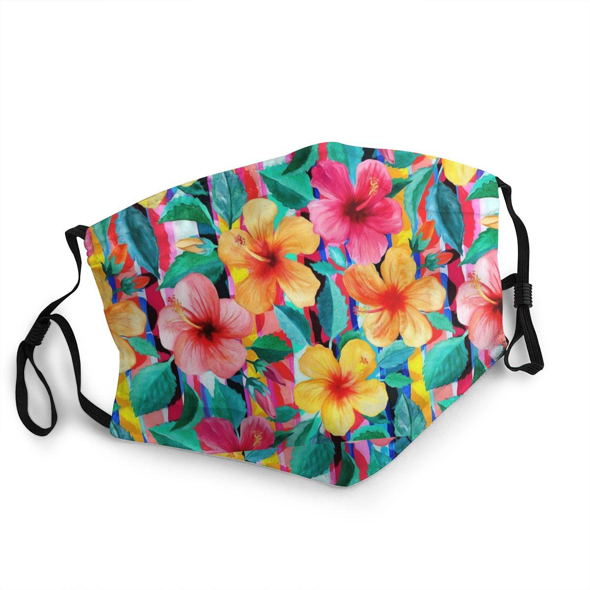 Hawaiian Hibiscus Floral Adult Reusable Face Mask Anti Haze Dustproof Mask Protection Mask Respirator Mouth Muffle