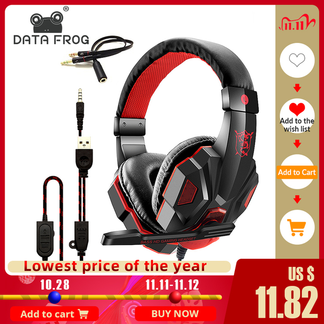 DATA FROG Wired Gaming Earphones for Mobile phone Headphones Mic Stereo Supper Bass for Sony PlayStation 4 PS4 Earphone 1