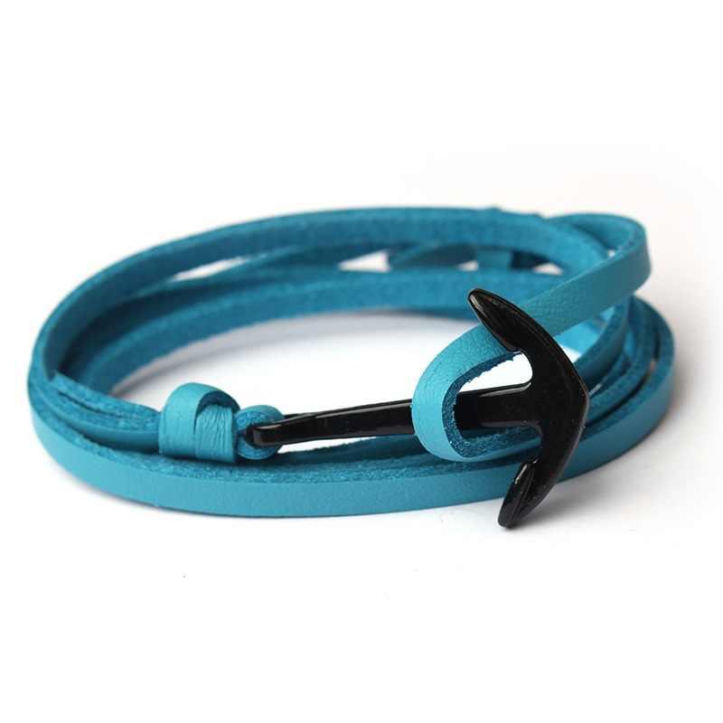 PU 男性女性ブレスレット黒合金アンカーブレスレット多層ロープ Paracord ブレスレット女性のための男性海軍スタイルのギフト 3C0271