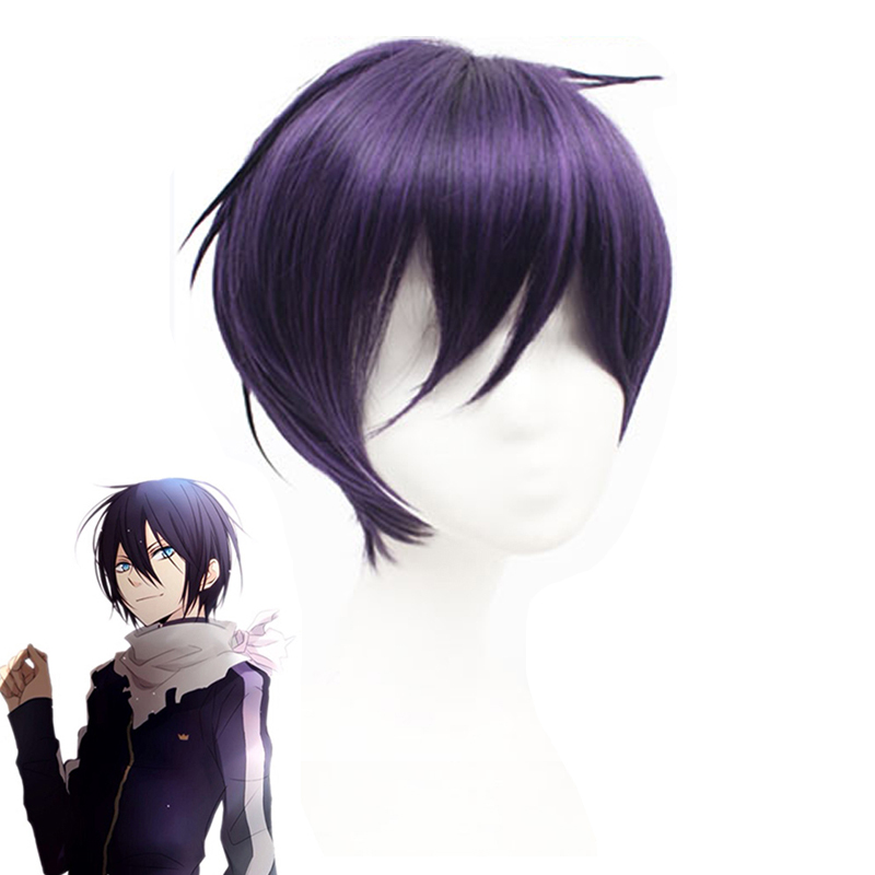 Anime Styled Black Purple Noragami Yato Cosplay Wig Short Heat-resistant Fiber Hairpiece Costume Play Wigs + Wig Cap