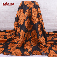 Kalume Hot Sale African Gilding Jacquard Lace Fabric Fashion Nigerian Tulle Lace Fabric Embroidery Organza Lace For Party 2165