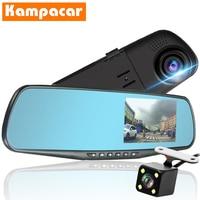 Kampacar Registrar Mirror DVR Dash Cam Video Recorder Rear View Camera 4.3 inch Car Dvr With Two Cameras HD 1080P Dual Lens DVRs