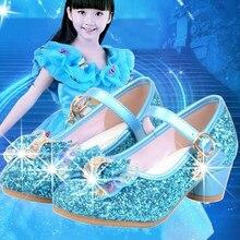 Детская обувь принцессы для девочек; сандалии на высоком каблуке; блестящие стразы; Enfants Fille; женские модельные туфли для вечеринки