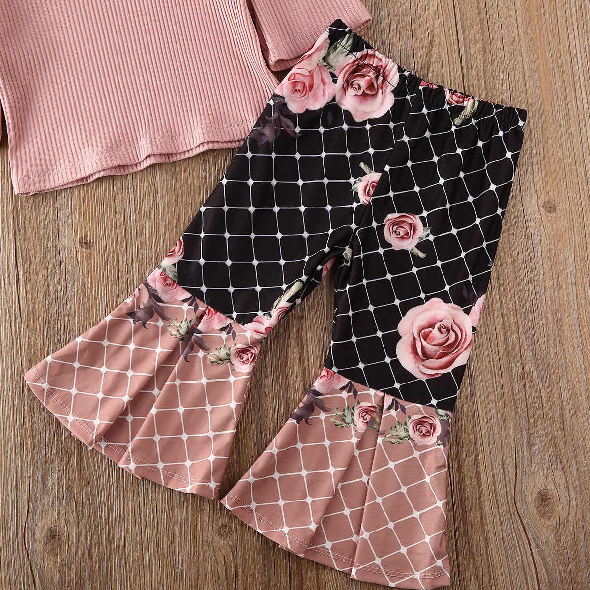 Peuter Baby Meisje Kleding Sets Solid Trui Ruche Lange Mouwen Top Bloemenprint Flare Broek Broek Outfits
