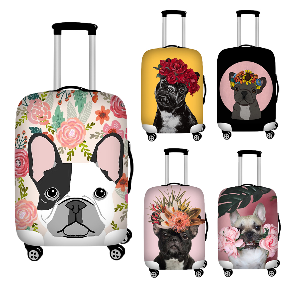 Nopersonality Flower Bulldog Print Trunk Case Cover Anti-dust Luggage Protective Dust Cover Waterproof Travel Suitcase Cover