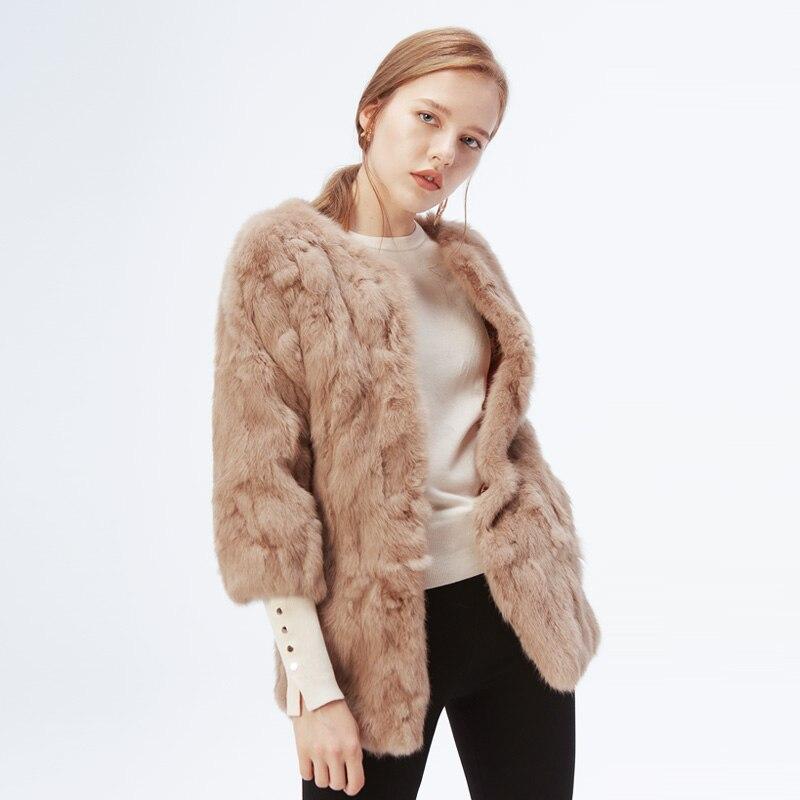 Ethel Anderson Women s Real Rabbit Fur Coat Long Jacket Vintage Style OL Outwear O Neck