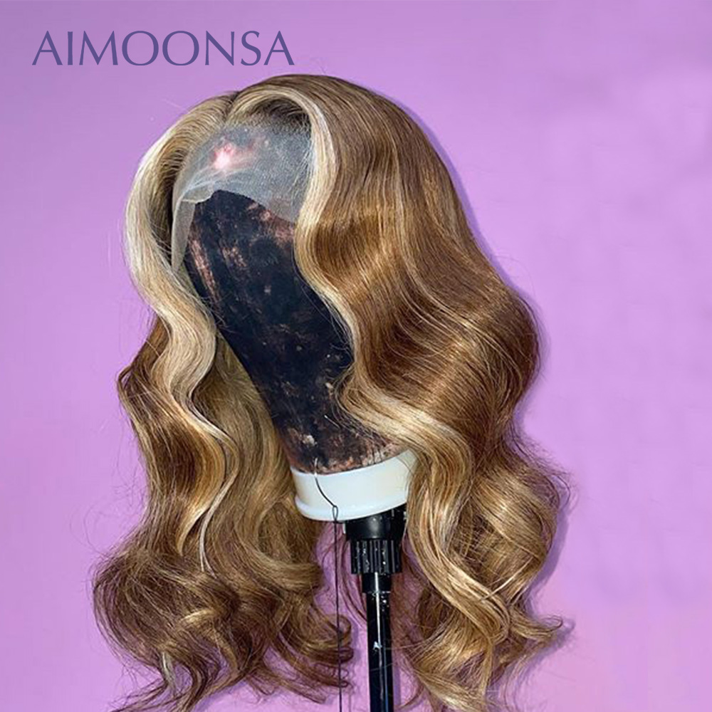 Highlight Body Wave Ombre Lace Front Wig 4/27  Color Wigs Human 13*6 Lace Frontal Preplucked And Bleached Knots Lace Wig Remy
