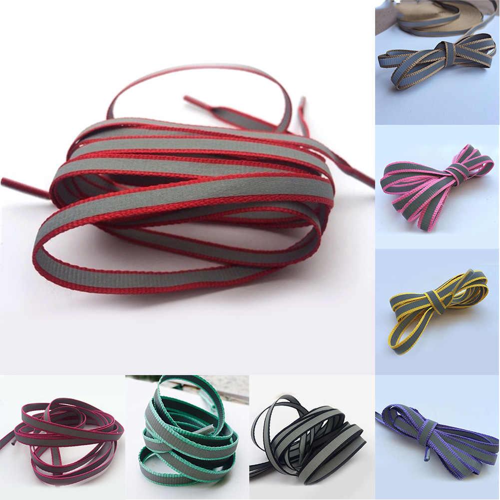 1 para 100cm płaskie 3M odblaskowe sznurowadła bezpieczeństwa Luminous świecące sznurowadła Unisex dla sportu koszykówka brezentowych butów