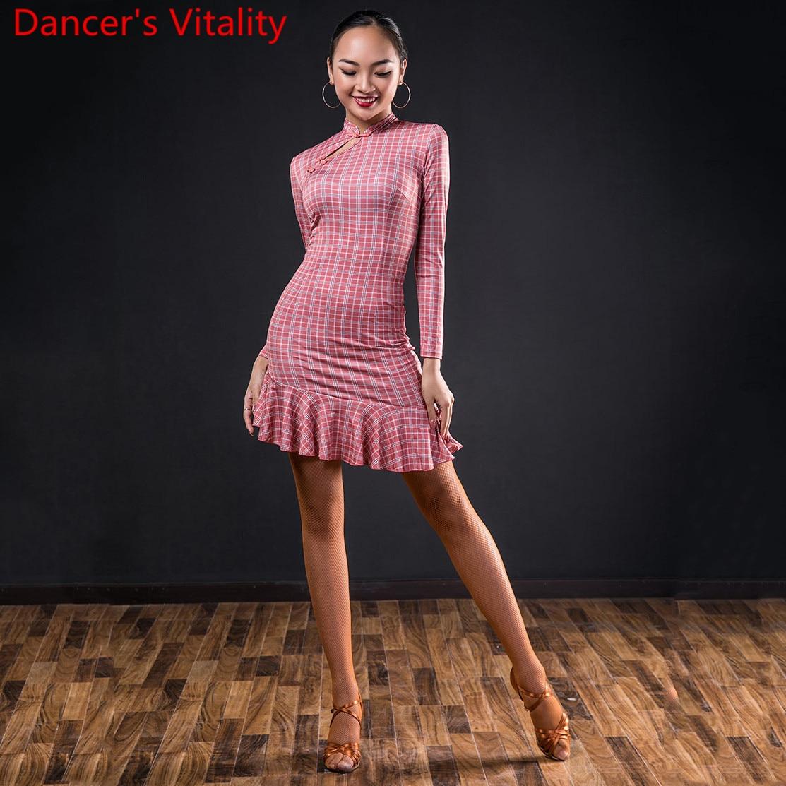 Latin Dance Performance Clothes Women Adults Fashion Long Sleeve Dress National Standard Rumba Samba Tango Dancing Training Suit