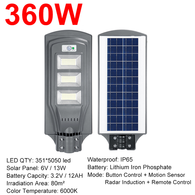 IP66 120W/240W/360WLED Outdoor Lighting Wall Lamp Solar Street Light Solar Powered Radar Motion+Light Control for Outdoor Garden 6