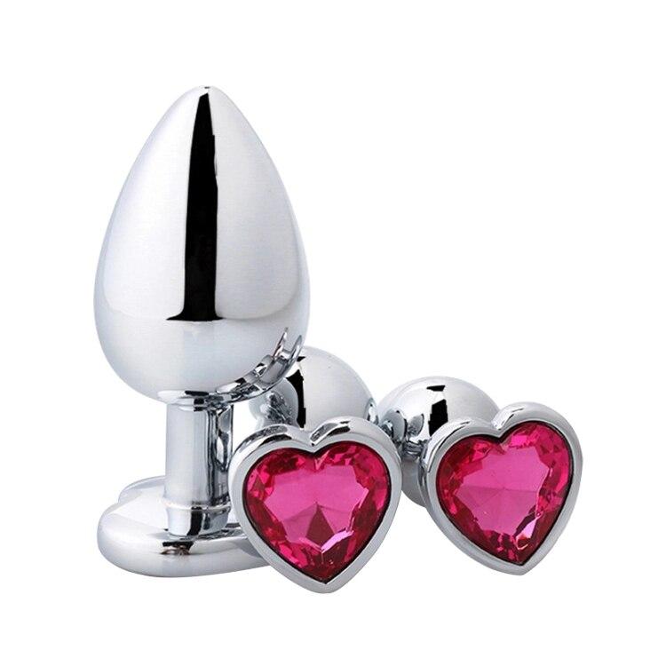 Coração em forma de metal plugue anal sexo brinquedos aço inoxidável suave butt plug cauda cristal jóias trainer para mulher/homem vibrador anal