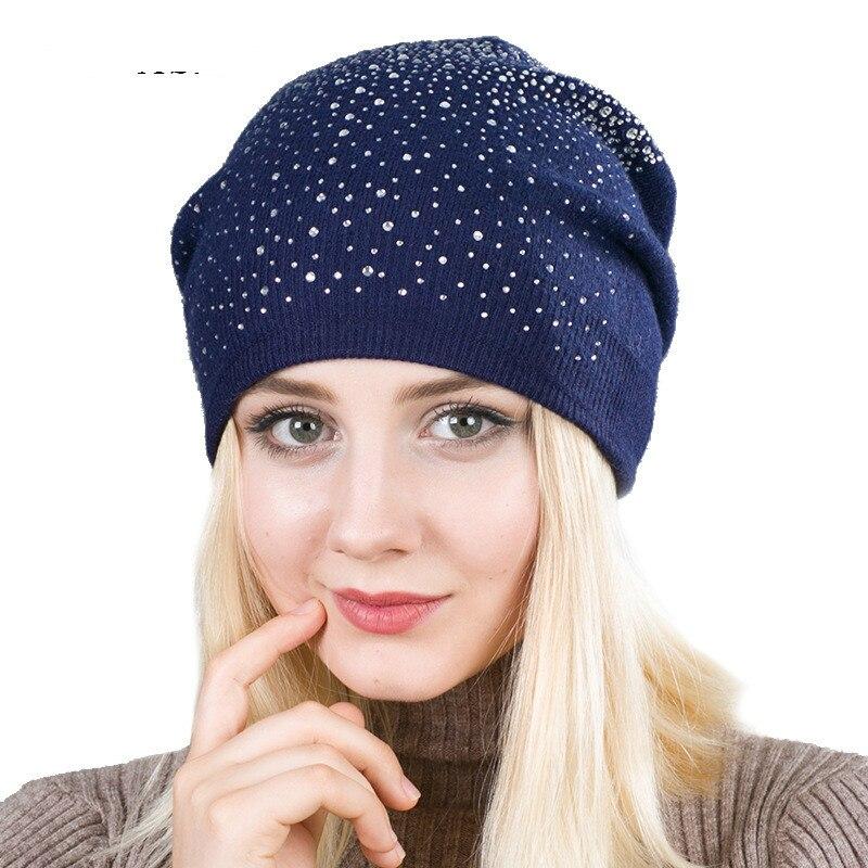 Wool Knitted Women Rhinestone Drill Hat Solid Skullies  Gorros Mujer Invierno Turban Winter  Simple Warm Cap