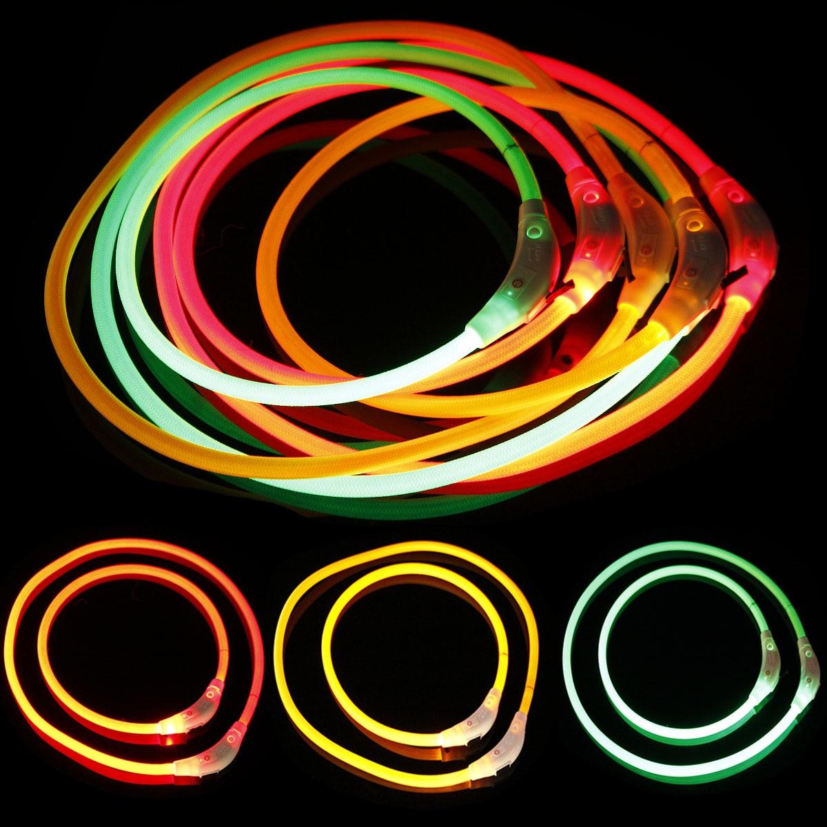 Weaving LED Shining Pet Dog Collar Bite-proof Protector Length 50 Cm 70 Cm Foreign Trade Cross Border Hot Goods