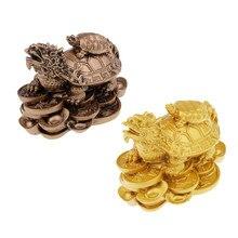 Riqueza y dinero Tortuga, dragón estatua figurilla buena suerte casa/decoración del coche de oro