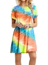 Full 2021 Fashion Women Dress Slimming Dazzling Rainbow Tie-dyed Print Lady Dress Knitted Milk Silk Fabric Plus Size 5XL