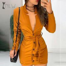 NLW Sexy Bodycon Dress Female 2019 Long Sleeve Winter Short