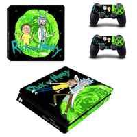 Rick y Morty PS4 Pegatinas delgadas PS 4 Play station 4 calcomanías delgadas de vinilo para consola delgada PlayStation 4 y controlador