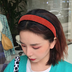 1PC Fashion Corduroy Women Headband Plaid Striped Floral Printing Wide Headband Vintage Stretch Turban Hairband Female Head Hoop