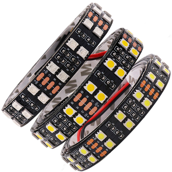 цена на 5M RGB LED Strip Light SMD 5050 12V DC Double Row 120LED/M 5m Waterproof Flexible Led Tape Lights Black/White PCB