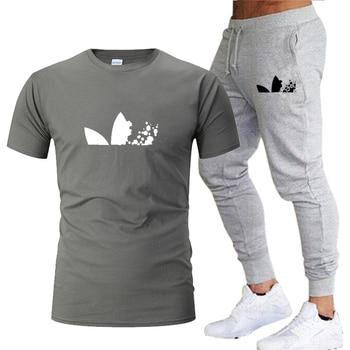 2020 Men Sweatpants+men running t-shirts men sets jogging Sportswear men Pants Gym Fitness Sportswear Tracksuit Training Pants цена 2017