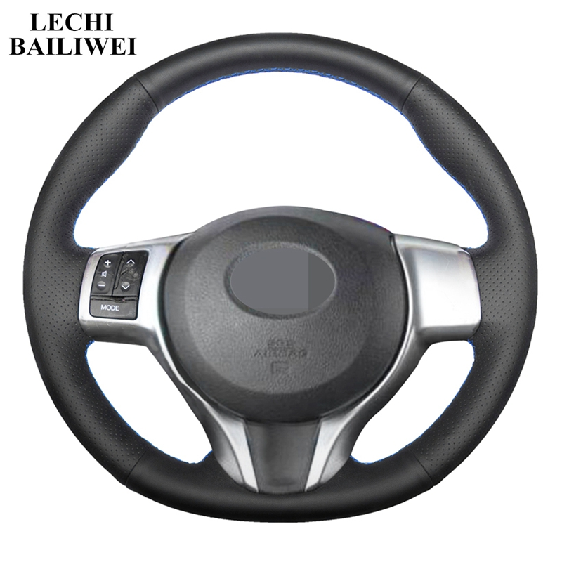 DIY Black Steering Wheel Cover Artificial Leather Hand stitched Car Steering Wheel Covers for Toyota Yaris 2012 2018|Steering Covers| |  - title=