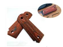 Empuñaduras de mano de palisandro, 1 par, Material de parche antideslizante, manijas artesanales, losas alzadas en blanco para 1911 modelos