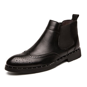 famous brand men luxury fashion wedding party brogue chelsea boots carving bullock genuine leather shoes pointed toe ankle boot