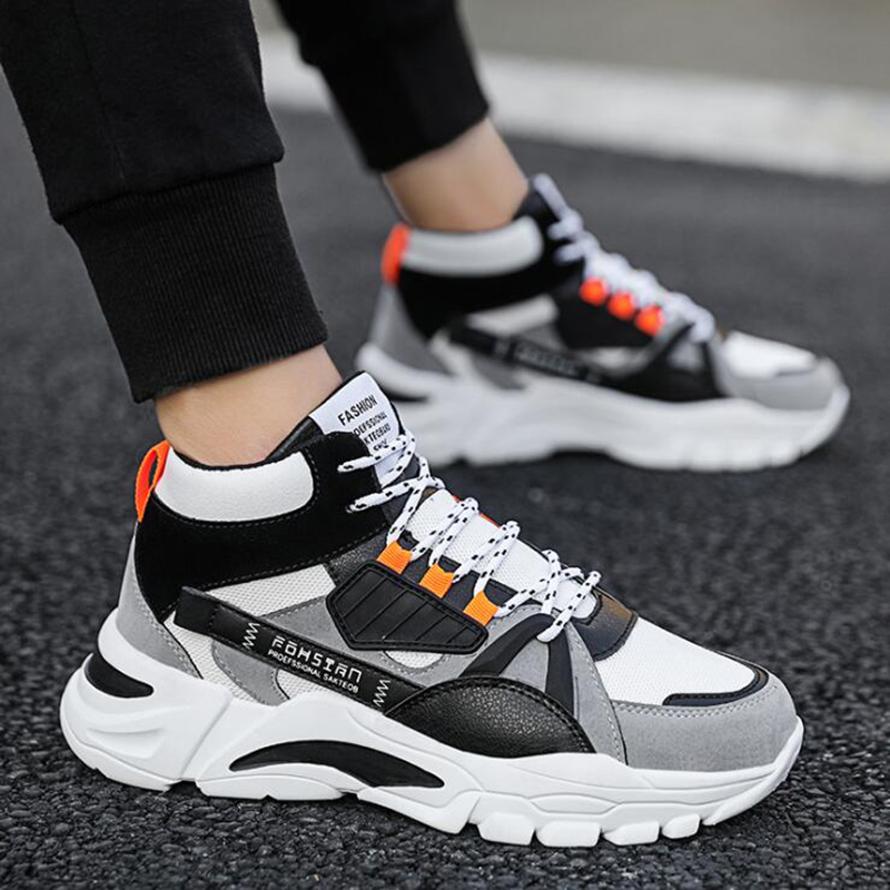 SHUJIN New Men Casual Shoes Lace-Up Men Shoes Winter Fashion Female Clunky Sneaker Casual Platform High Help Dad Shoes Size39-44