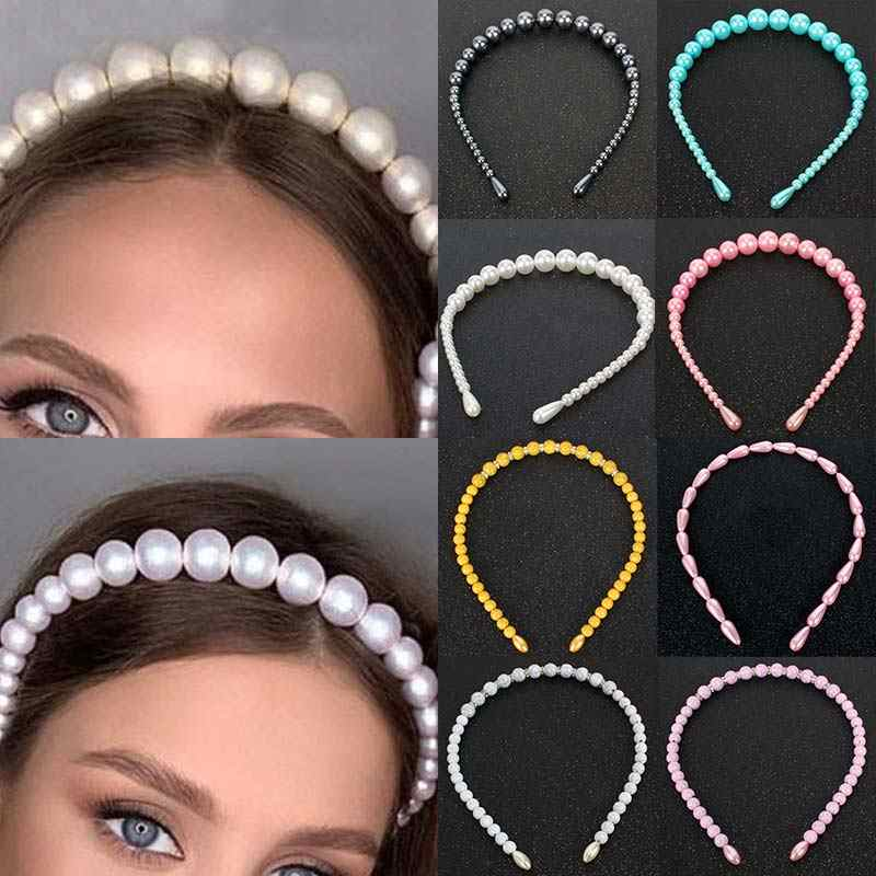 Unique Candy Color Elegant Party Big Pearls Crystal 1PC 2020 New Arrival Exquesite Headband Hair Hoop Bezel for Girls Women