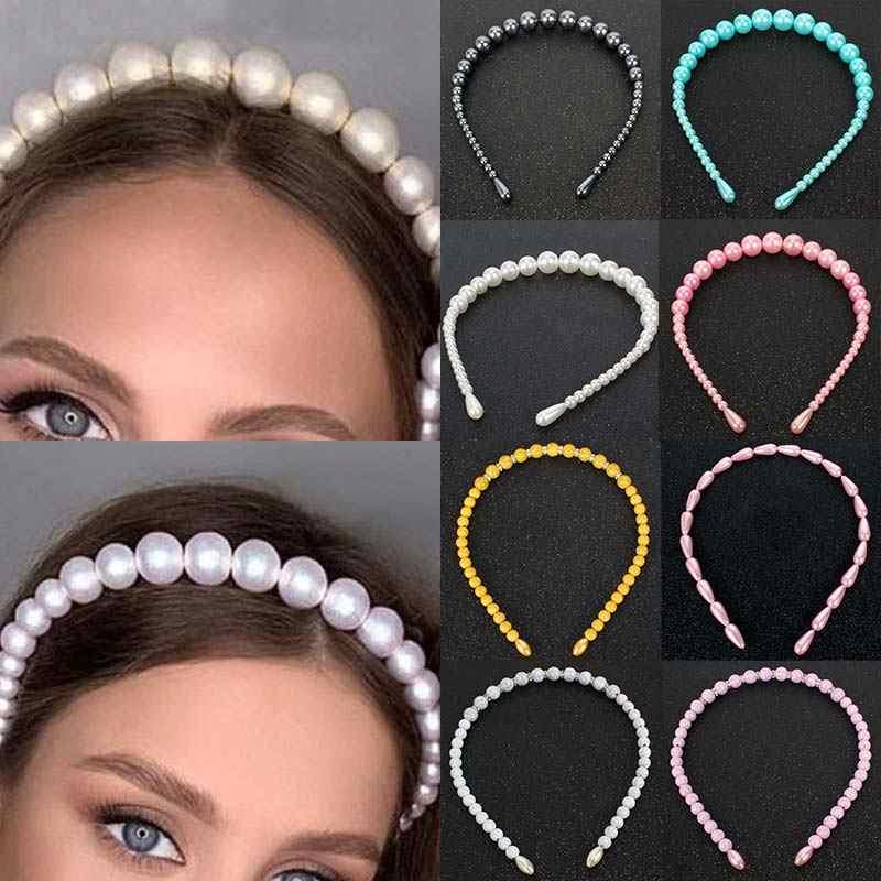 Permen Unik Warna Elegan Partai Besar Mutiara Kristal 1PC 2020 Baru Kedatangan Sangat Indah Ikat Kepala Rambut Hoop Bezel untuk Anak Perempuan wanita